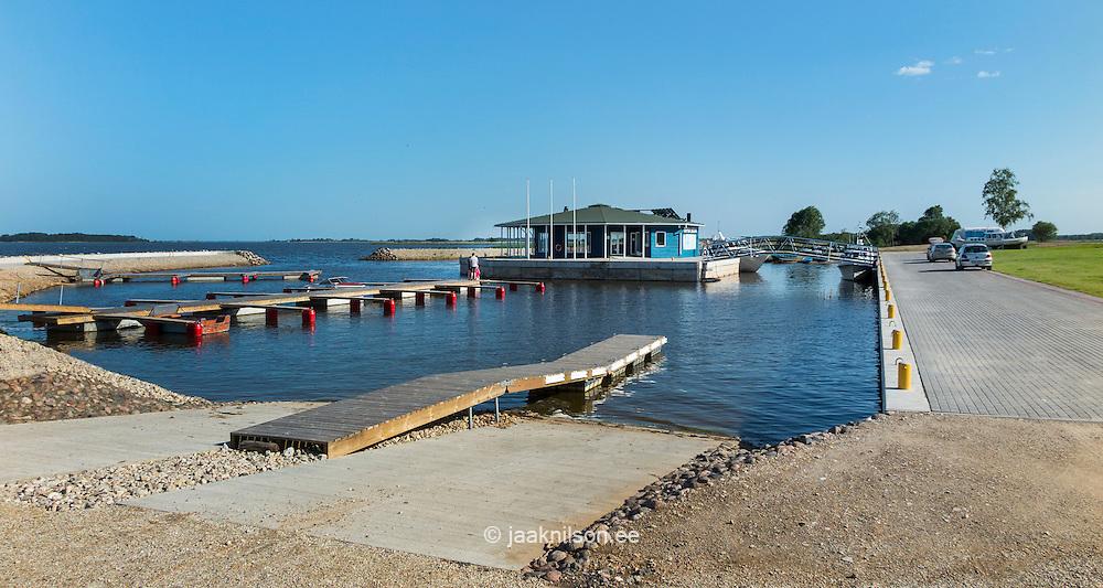 Räpina marina for small boats in Estonia. Quayside walkway, cars. Lake Peipsi.