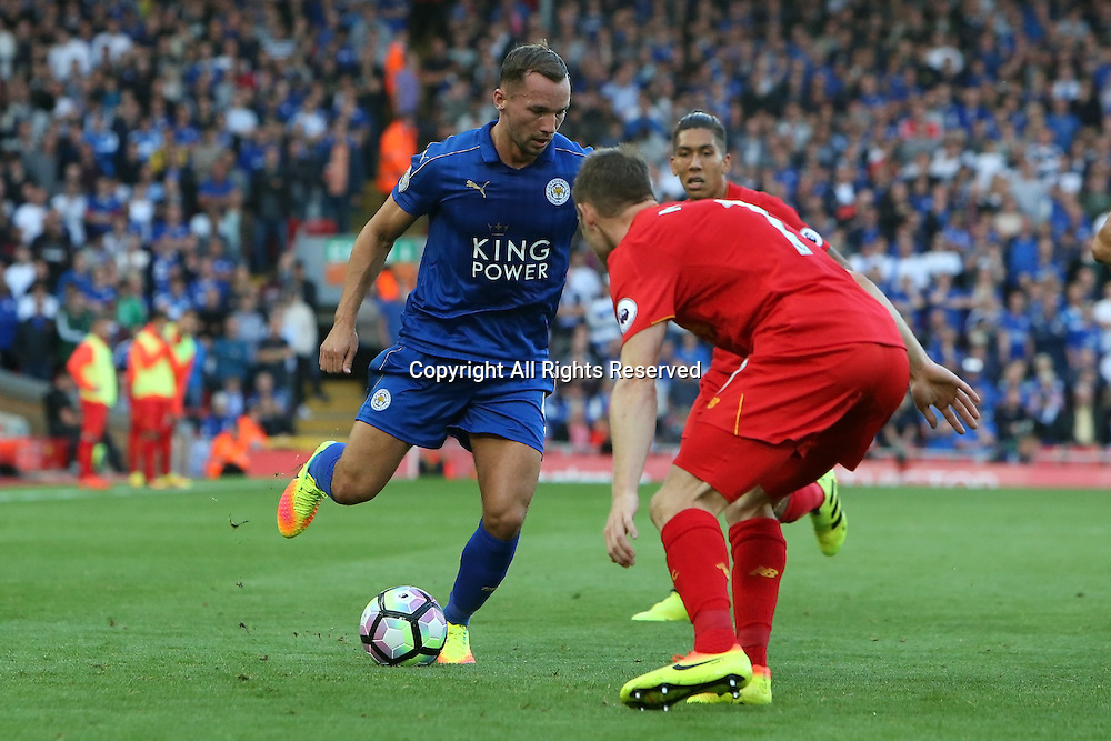 10.09.2016. Anfield, Liverpool, England. Premier League Football. Liverpool versus Leicester. Daniel Drinkwater of Leicester City takes on James Milner of Liverpool