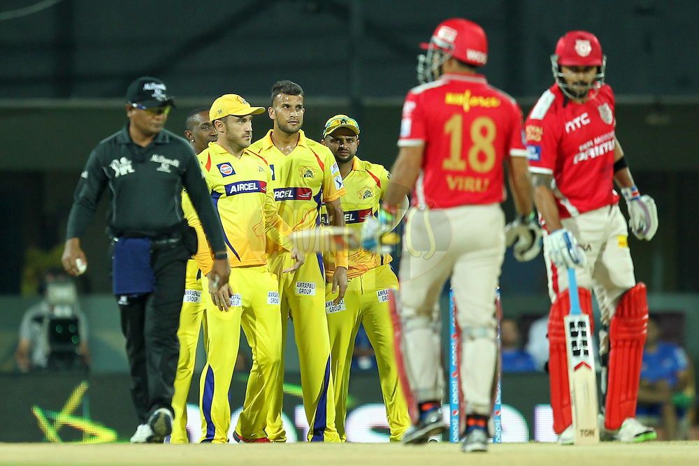 Ishwar Pandey of Chennai Super Kings celebrates wicket of Virendra Sehwag of KXIP during match 24 of the Pepsi IPL 2015 (Indian Premier League) between The Chennai Superkings and The Kings XI Punjab held at the M. A. Chidambaram Stadium, Chennai Stadium in Chennai, India on the 25th April 2015.Photo by:  Prashant Bhoot / SPORTZPICS / IPL