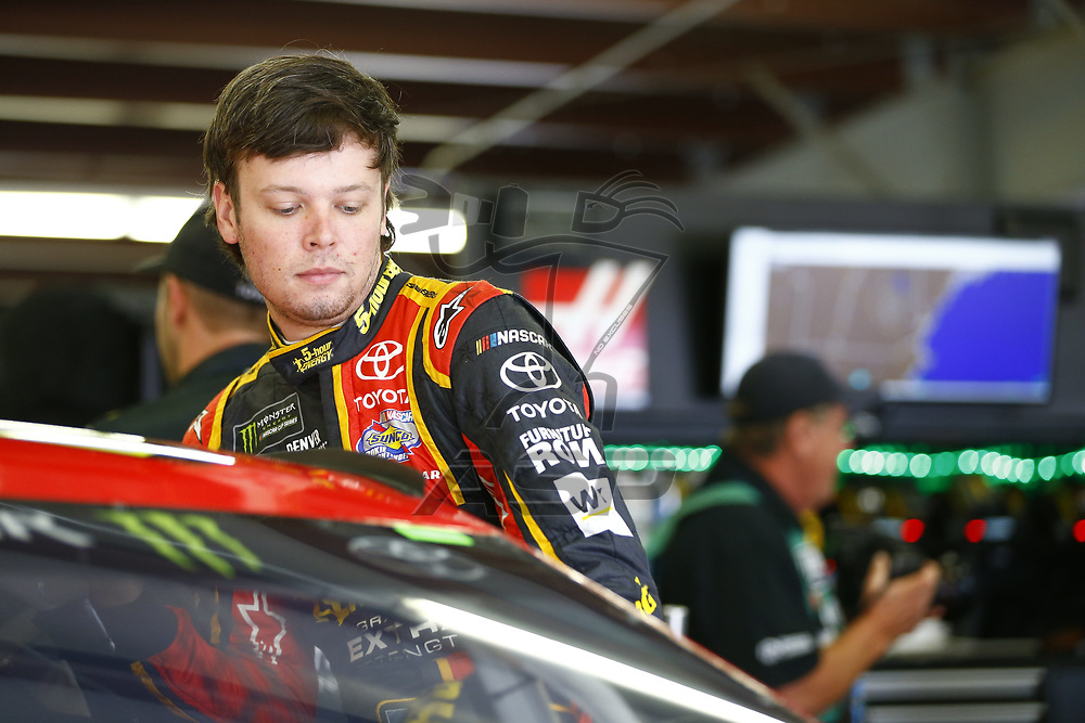 July 14, 2017 - Loudon, NH, USA: Erik Jones (77) hangs out in the garage during practice for the Overton's 301 at New Hampshire Motor Speedway in Loudon, NH.