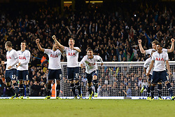 Tottenham players celebrate winning on penalties - Photo mandatory by-line: Mitchell Gunn/JMP - Tel: Mobile: 07966 386802 30/10/2013 - SPORT - FOOTBALL - White Hart Lane - London - Tottenham Hotspur v Hull City - Capital One Cup - Forth Round