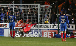 Jonathan Bond of Peterborough United makes a diving save to deny a Scunthorpe United attack - Mandatory by-line: Joe Dent/JMP - 13/02/2018 - FOOTBALL - ABAX Stadium - Peterborough, England - Peterborough United v Scunthorpe United - Sky Bet League One