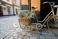Detail of old bicycle in Gamla Stan old town district of Stockholm in Sweden