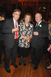 Left to right, ANTONY BEEVOR, LADY ANTONIA FRASER and JULIAN FELLOWES at the Orion Authors Party held at the Royal Opera House, Covent Garden, London on 11th February 2008.<br />