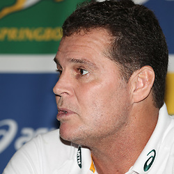 EDINBURGH, SCOTLAND - NOVEMBER 15: Rassie Erasmus (Head Coach) of South Africa during the South African national rugby team announcement media conference at Radisson Blue Hotel, 80 High Street on November 15, 2018 in Scotland, Ireland. (Photo by Steve Haag/Gallo Images)
