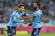 SYDNEY, AUSTRALIA - APRIL 13: Sydney FC midfielder Milos Ninkovic (10) celebrates Sydney FC forward Alex Brosque (14) goal at round 25 of the Hyundai A-League Soccer between Western Sydney Wanderers and Sydney FC  on April 13, 2019 at ANZ Stadium in Sydney, Australia. (Photo by Speed Media/Icon Sportswire)