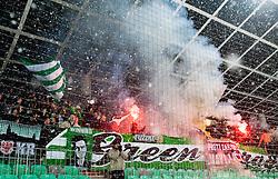 Green Dragons, fans of NK Olimpija during football match between NK Olimpija and NK Maribor in firs leg of quarter-final of Slovenia Cup, on February 23, 2013 in Stadium Stozice, Ljubljana, Slovenia. (Photo by Urban Urbanc / Sportida.com)