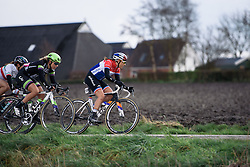 Lucinda Brand leads the peloton with a lap and a half to go - Energiewacht Tour 2016 - Stage 2. A 117 km road race starting and finishing in Winsum, Netherlands on April 7th 2016.