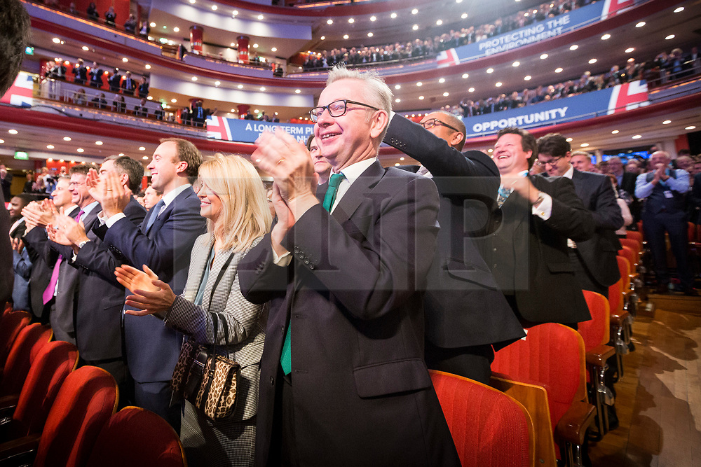 © Licensed to London News Pictures. 03/10/2018. Birmingham, UK. Michael Gove watches the Prime Minister Theresa May gives her speech to her party on the final day of the Conservative Party Conference being held at the International Convention Centre in Birmingham. Photo credit: Andrew McCaren/LNP