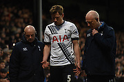 Jan Vertonghen heads to the back following his injury during the Barclays Premier League match between Crystal Palace and Tottenham Hotspur at Selhurst Park, London, England on 23 January 2016. Photo by Michael Hulf.