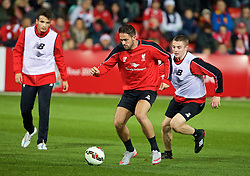 ADELAIDE, AUSTRALIA - Sunday, July 19, 2015: Liverpool's Danny Ings and Jordan Rossiter during a training session at Coopers Stadium ahead of a preseason friendly match against Adelaide United on day seven of the club's preseason tour. (Pic by David Rawcliffe/Propaganda)