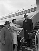 25/02/1961<br /> 02/25/1961<br /> 25 February 1961<br /> Noel Clery, (Jacob's Biscuits) leaves for tour of the United States for Jacobs Biscuits, from Dublin Airport, Dublin.