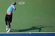 CINCINNATI, OH - AUGUST 18: James Blake of the United States serves to Igor Kunitsyn of Russia during day two of the Western & Southern Financial Group Masters on August 18, 2009 at the Lindner Family Tennis Center in Cincinnati, Ohio. Kunitsyn defeated Blake 7-6, 6-7, 6-4. (Photo by Joe Robbins)
