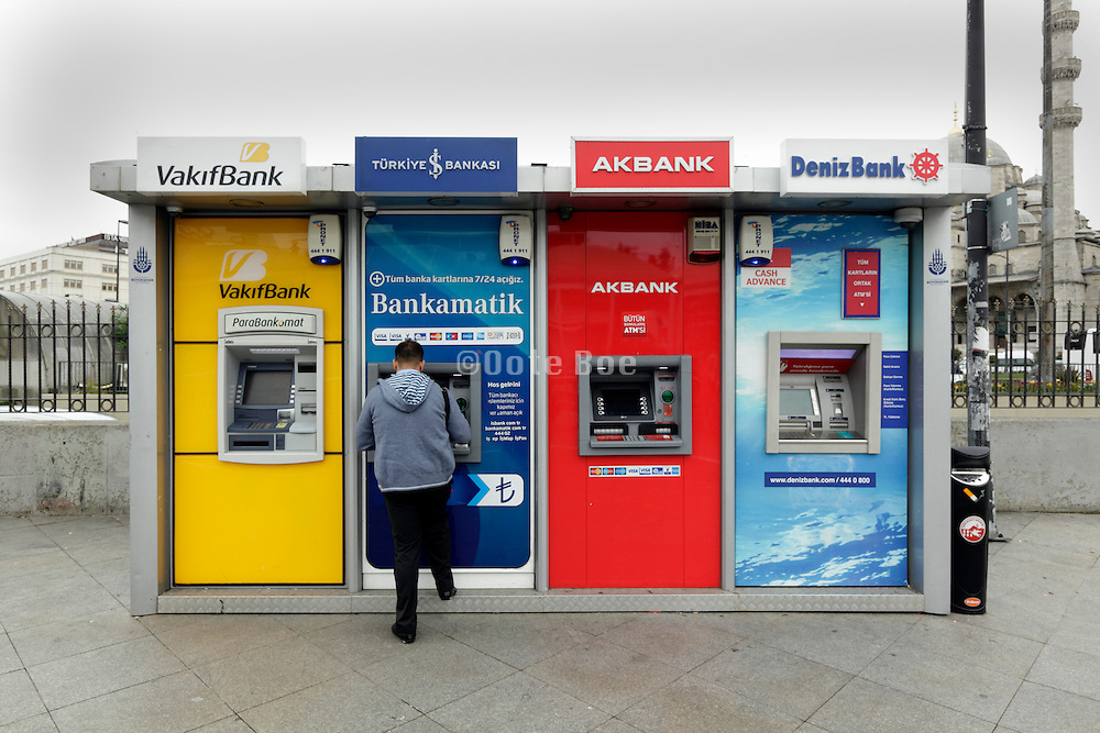 cash dispenser machines of various banks in Istanbul Turkey