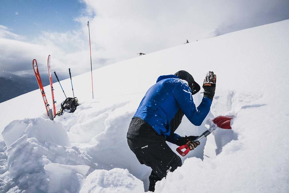 Simon Thomson playing in the snow, Howson Range, British Columbia.