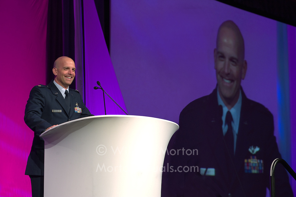 USAF Maj. Dan Rooney, F-16 pilot and founder of the Folds of Honor foundation, speaks to the Associated Builders and Contractors during their 60th Anniversary convention in San Diego, CA on 2/04/2010. Convention Photography at the Hilton San Diego Bayfront by Dallas event photographer William Morton of Morton Visuals.