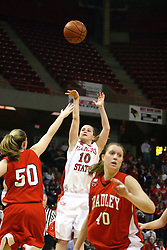 28 January 2007: Kristi Cirone gets off a quick shot before Amy Peters arrives to block.  Before a record crowd or nearly 4200, the Bradley Braves were defeated by the conference leading (9-0) Redbirds of Illinois State University by a score of 55-47 at Redbird Arena in Normal Illinois.
