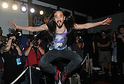 """Duran Duran and DJ Steve Aoki join forces for the first time to debut their remix """"Hungry Like The Wolf"""" at Trident's """"See What Unfolds Live"""" event in New York, Wednesday, June 20, 2012."""
