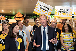 © Licensed to London News Pictures. 01/06/2017. London, UK. Liberal Democrat Leader TIM FARRON (R) and SARAH OLNEY MP (L) attend a party rally at the Shiraz Mirza Community Centre in Norbiton. Photo credit: Rob Pinney/LNP