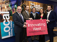 Repro free. PJ Kavanagh, Bank Of Ireland,(BOI), John Breslin, NUIG and Innovating West, Declan Russell, BOI Mary Nohilly, BOI with David Cunningham, Counterweight and Innovating West, at the Sponsors launch of Innovating West which takes place in the Lifecourse Institute at NUIG .<br />  Innovating West, a one-day summit in Galway that will bring together innovators, creators, entrepreneurs and leaders to discuss how great teams and innovation ecosystems can be built in the West of Ireland. Photo:Andrew Downes