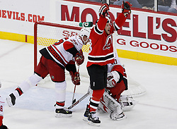 Apr 23, 2009; Newark, NJ, USA; New Jersey Devils right wing David Clarkson (23) celebrates his goal during the second period of game five of the eastern conference quarterfinals of the 2009 Stanley Cup playoffs at the Prudential Center.