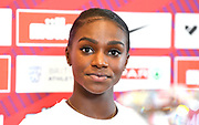 Dina Asher-Smith (GBR) at a press conference prior to the Grand Prix Birmingham in an IAAF Diamond League meet in Birmingham, United Kingdom, Friday, Aug. 17, 2018. (Jiro Mochizuki/mage of Sport)