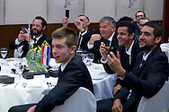 (L) Zeljko Krajan - captain national team & (R) Marin Cilic & (2R) Mate Pavic all of Croatia while official dinner at Regent Hotel two days before the BNP Paribas Davis Cup 2014 between Poland and Croatia at Torwar Hall in Warsaw on April 2, 2014.<br /> <br /> Poland, Warsaw, April 2, 2014<br /> <br /> Picture also available in RAW (NEF) or TIFF format on special request.<br /> <br /> For editorial use only. Any commercial or promotional use requires permission.<br /> <br /> Mandatory credit:<br /> Photo by © Adam Nurkiewicz / Mediasport