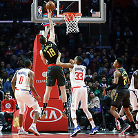 08 January 2018: Atlanta Hawks center Miles Plumlee (18) puts back the ball over LA Clippers forward Wesley Johnson (33) during the LA Clippers 108-107 victory over the Atlanta Hawks, at the Staples Center, Los Angeles, California, USA.