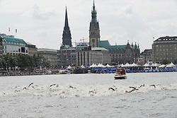 16.07.2011, Hamburg, GER, Dextro Energy Triathlon ITU World Championship Series, Elite men, im Bild die Maenner schwimmen in der Binnenalster mit dem Hamburger Rathaus im Hintergrund.EXPA Pictures © 2011, PhotoCredit: EXPA/ nph/  Witke       ****** out of GER / CRO  / BEL ******