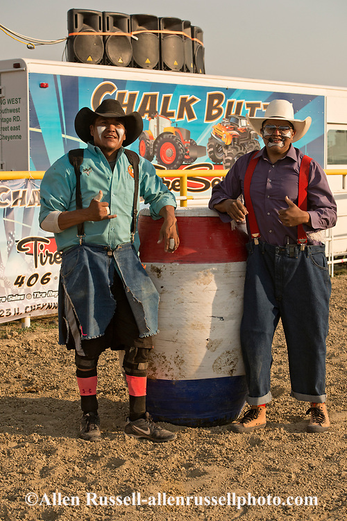 Bull Fighter OJ, Rodeo Clown Hardy, Crow Fair Rodeo, Crow Indian Reservation, Montana