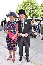 Mary Berry and her husband Paul Hunnings at the 2d day of The Investec Derby Festival - Derby Day, Epsom Racecourse, Epsom, Surrey, UK. 01 June 2019.