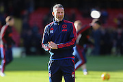 Ryan Giggs in the warm up during the Barclays Premier League match between Watford and Manchester United at Vicarage Road, Watford, England on 21 November 2015. Photo by Phil Duncan.