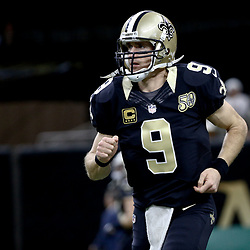 Dec 24, 2016; New Orleans, LA, USA; New Orleans Saints quarterback Drew Brees (9) against the Tampa Bay Buccaneers before a game at the Mercedes-Benz Superdome. Mandatory Credit: Derick E. Hingle-USA TODAY Sports