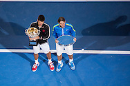 Novak Djokovic (SRB) and Rafael Nadal (ESP) with the trophies. 2012 Australian Open Tennis Championship. Mens Singles Singles. Final. Rod Laver Arena, Melbourne and Olympic Parks, Melbourne, Victoria, Australia. 29/01/2012. Photo By Lucas Wroe