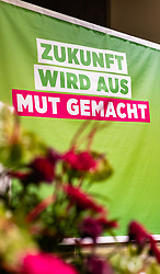 06.04.2019, Volkshaus Pichling, Linz, AUT, Landesversammlung die Grünen Oberösterreich, Wahl des Landessprechers, im Bild Werbeplakat // during the provincial assembly of the OÖ Greens with election of the country speaker at the Volkshaus Pichling in Linz, Austria on 2019/04/06. EXPA Pictures © 2019, PhotoCredit: EXPA/ JFK