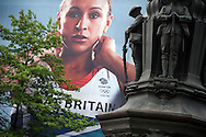A poster of gold-medal winning British pentathlete Jessica Ennis, on the front of the John Lewis store in Sheffield, UK.