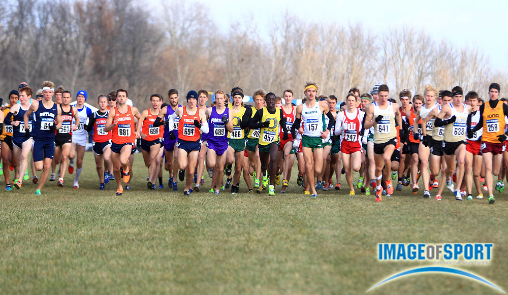 Nov 23, 2013; Terre Haute, IN, USA; General view of the start of the mens race at the LaVern Gibson championship course at the Wabash Valley Family Sports Center. Edward Cheserek of Oregon (457) won in 29:40.