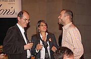 Richard Cork, Tracey Emin and Wolfgang Tillman, . 2004 Turner prize. Tate Britain. 7 December 2004. ONE TIME USE ONLY - DO NOT ARCHIVE  © Copyright Photograph by Dafydd Jones 66 Stockwell Park Rd. London SW9 0DA Tel 020 7733 0108 www.dafjones.com