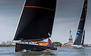 IMOCA Ocean Masters. New York - Barcelona Race start. Pictures of the Safran Sailing Team skippered by Morgan Lagraviere (FRA) and Marc Guillemot (FRA), shown here during the race start today.<br />  Credit: Mark Lloyd/DPPI