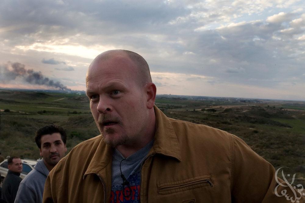 "Samuel J. Wurzelbacher, better known as ""Joe the Plumber"",talks with reporters from atop a hill overlooking the Gaza battlefield January 11, 2009 near Sderot, Israel. Wurzelbacher, who rose to fame during the 2008 election after questioning then presidential candidate Barack Obama about his tax plan, is in the region for about 10 days  to report for the conservative web site Pajamas TV (www.pjtv.com.)"