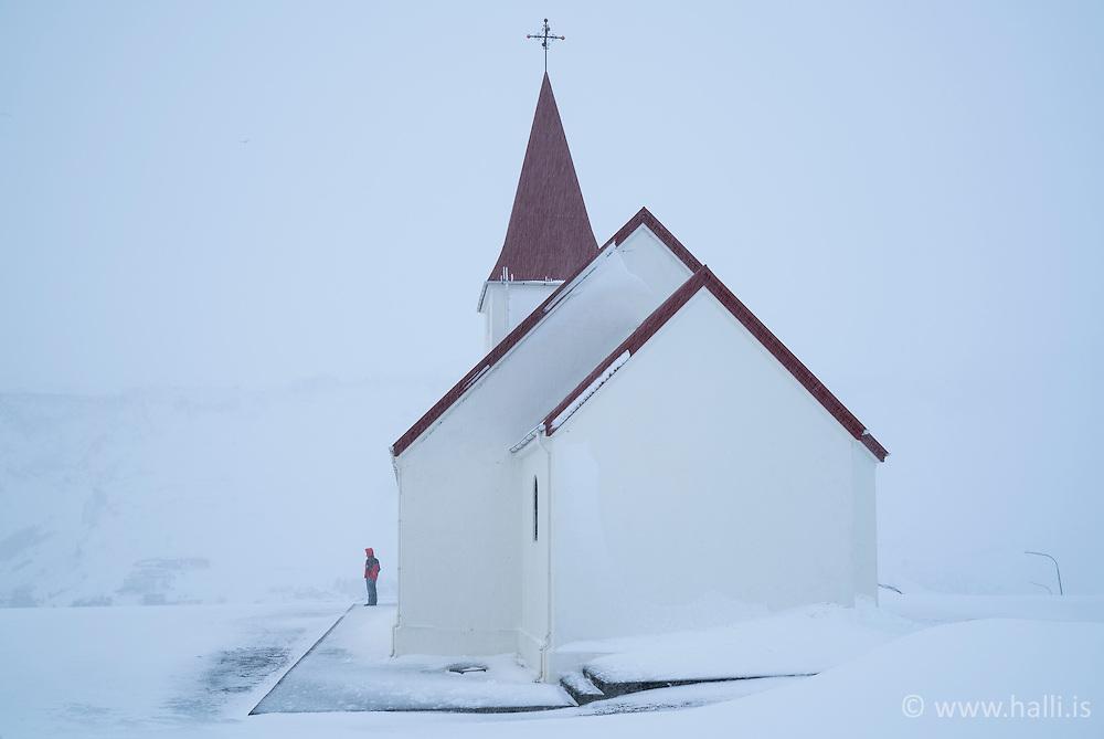 The church Vikurkirkja, in Vik in Myrdalur, south Iceland - Víkurkirkja