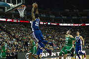 Philadelphia 76ers Joel Embiid (21) goes for a slam dunk during the NBA London Game match between Philadelphia 76ers and Boston Celtics at the O2 Arena, London, United Kingdom on 11 January 2018. Photo by Martin Cole.