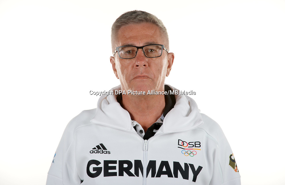 Siegfried Kaidel poses at a photocall during the preparations for the Olympic Games in Rio at the Emmich Cambrai Barracks in Hanover, Germany. July 08, 2016. Photo credit: Frank May/ picture alliance. | usage worldwide