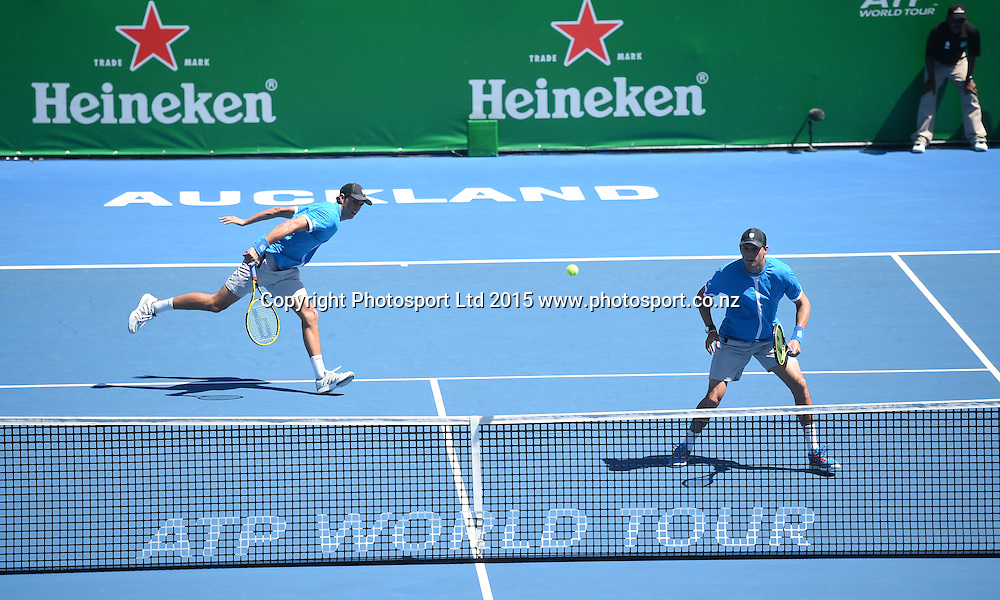 Doubles players and brothers Bob and Mike Bryan on Day 2 at the Heineken Open. Festival of Tennis, ATP World Tour. ASB Tennis Centre, Auckland, New Zealand. Tuesday 13 January 2015. Copyright photo: Andrew Cornaga/www.photosport.co.nz