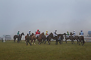 HORSES GETTING READY TO SET OFF, Heythrop Point to Point. At a  new course at Cocklebarrow near Aldsworth. 11 January 2014