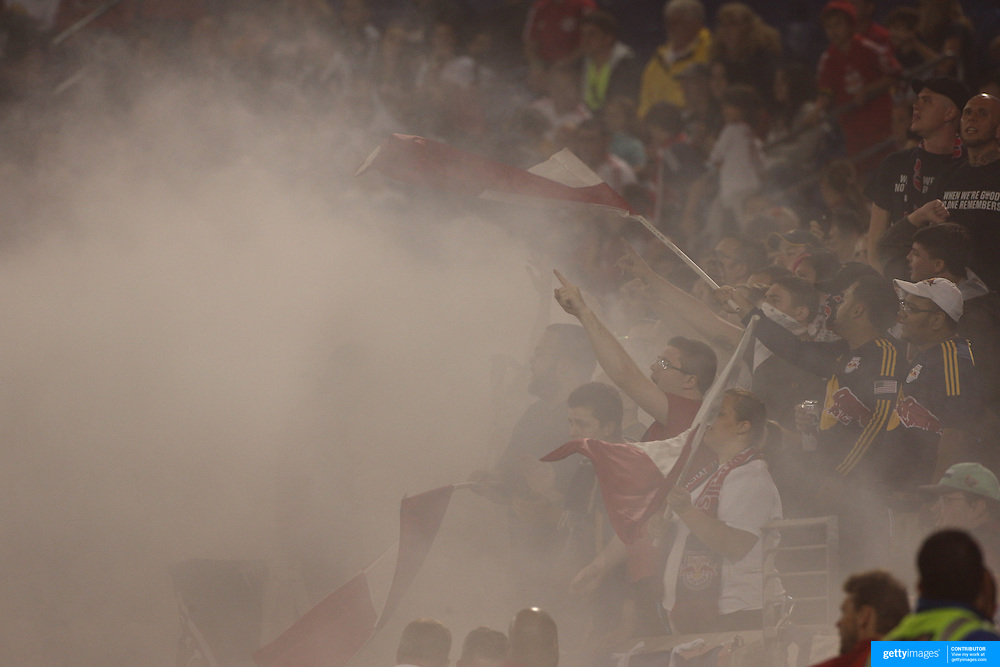 New York Red Bulls fans during the New York Red Bulls Vs Seattle Sounders, Major League Soccer regular season match at Red Bull Arena, Harrison, New Jersey. USA. 20th September 2014. Photo Tim Clayton