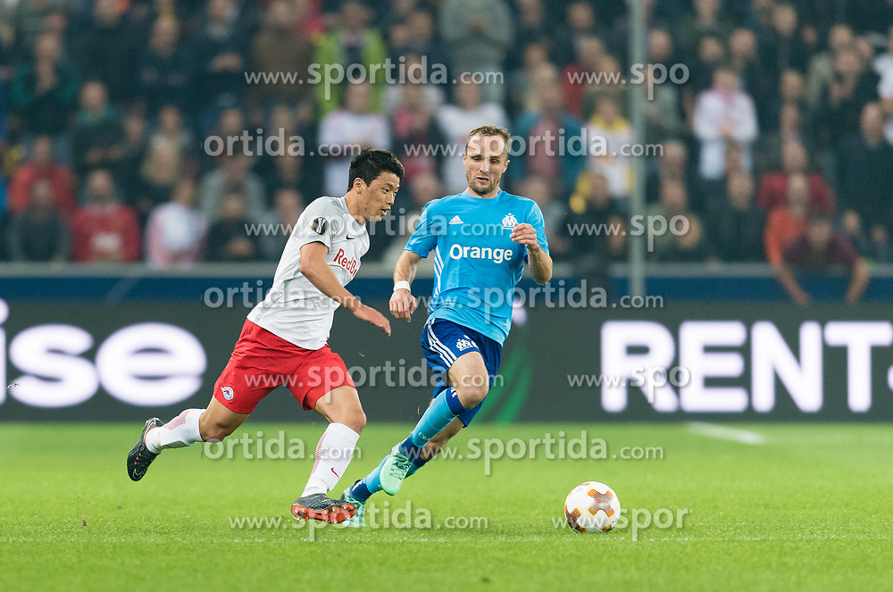 03.05.2018, Red Bull Arena, Salzburg, AUT, UEFA EL, FC Salzburg vs Olympique Marseille, Halbfinale, Rueckspiel, im Bild v.l. Hee Chan Hwang (FC Salzburg), Valère Germain (Olympique Marseille) // during the UEFA Europa League Semifinal, 2nd Leg Match between FC Salzburg and Olympique Marseille at the Red Bull Arena in Salzburg, Austria on 2018/05/03. EXPA Pictures © 2018, PhotoCredit: EXPA/ Stefan Adelsberger