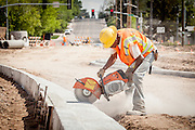 Road work at Converse Avenue and East Pershing Boulevard, Cheyenne, Wyoming.