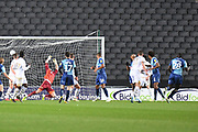 Wycombe Wanderers midfielder (on loan from AFC Bournemouth) Nnamdi Ofoborh (28)  scores a goal from open play 1-1 during the EFL Trophy match between Milton Keynes Dons and Wycombe Wanderers at stadium:mk, Milton Keynes, England on 12 November 2019.