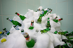 Beer in the shower at Poslovilna tekma Tomaza Razingarja, on July 16, 2016 in Ledna dvorana, Bled, Slovenia. Photo by Matic Klansek Velej / Sportida